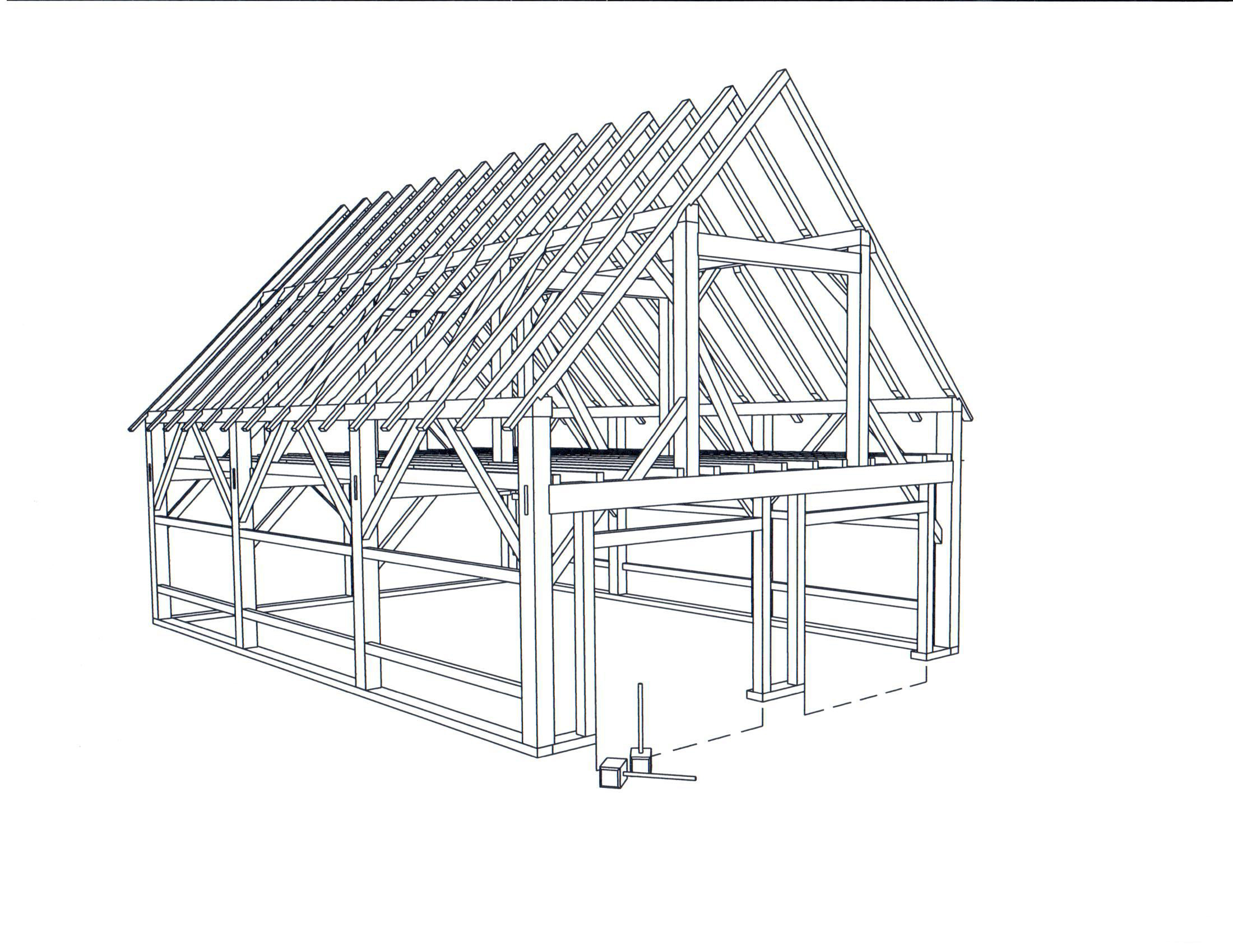 26 X 36 Clear Span Garage Frame Brunswick Timber Frames